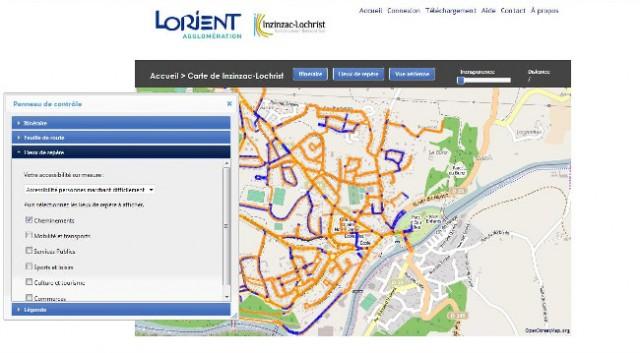 Les informations relatives à l'accessibilité de la voirie, des bâtiments et des espaces publics sont visualisables grâce à un outil cartographique en ligne sur le site de l'agglomération du pays de Lorient. Il indique par le biais de trois couleurs (vert, orange et rouge) le niveau d'accessibilité pour les personnes en situation de handicap. À cette géolocalisation s'ajoute une application permettant le calcul d'itinéraire, un « Mappy de l'accessibilité » développée en partenariat avec la société Handimap.