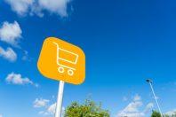 Shopping cart sign outdoor at supermarket