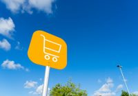 Shopping cart sign outdoor at supermarket