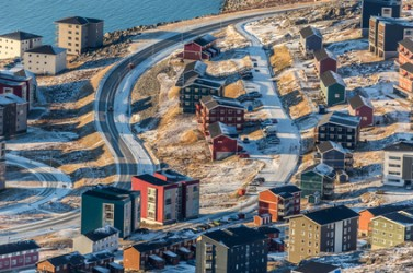 Aerial view to the streets and buildings of Nuuk, Greenland