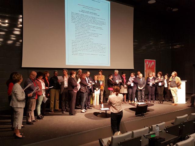Saint-Etienne, 31 mars 2017 : le CA de la FNCC sur la scène de l'auditorium de la Cité du Design pour s'adresser aux candidats à l'élection présidentielle ©hg