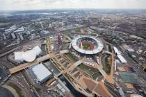 Vue aérienne du parc Olympique dans le sud ouest de Londres, en avril 2012.