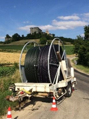 Rouleau de fibre « made in France » du projet « Très Haut Débit » de Gers Numérique.