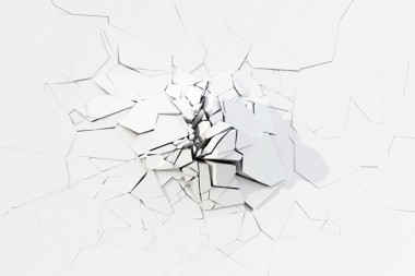 Destruction Of The White Concrete Wall