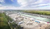 Futur parc des expositions de Toulouse : vue depuis le sud-est sur l'aire d'exposition extérieure