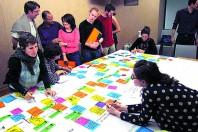 """Le design des politiques publiques sous-tend une logique de coproduction. Ici, la cartographie du processus d'achat lors de la résidence """"'repenser ensemble les achats durables"""" menée par la région Rhône-Alpes."""