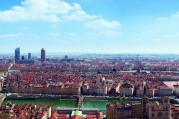 Panoramic view of the city of Lyon, France.