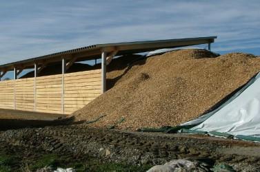 Copeaux de bois visant à être réutilisés pour produire de l'électricité.