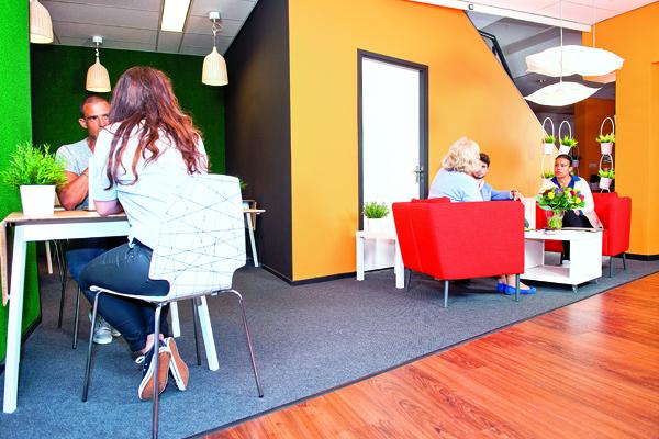 Modern office waiting area