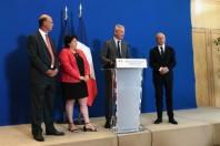 Eric Lombard (DG de la CDC), Sophie Errante (présidente de la commission de contrôle de la CDC), Bruno Le Maire (ministre de l'Economie et des Finances) et Philippe Wahl (PDG du groupe La Poste)