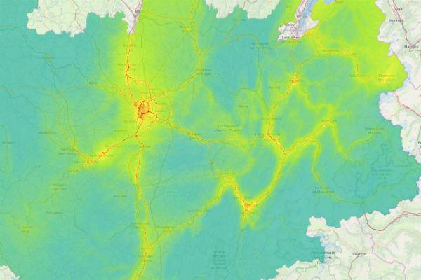 Carte 2017 d'exposition des populations au dioxyde d'azote en Auvergne-Rhône-Alpes