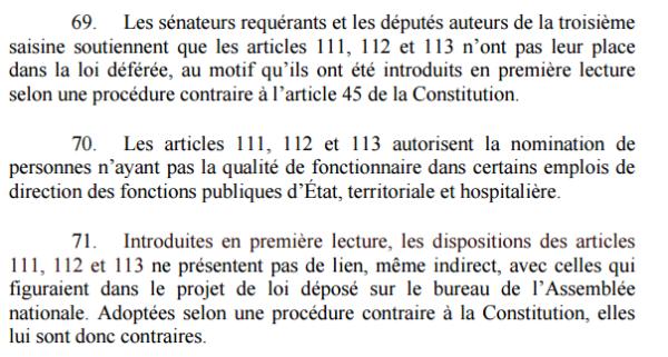 Conseil constitutionnel Déc n° 2018-769 DC du 4 septembre 2018 ( art. 69-70-71)