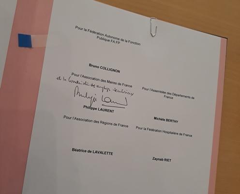 Première signature de la coordination employeurs publics territoriaux