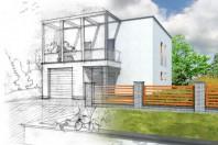 Projet de construction d'une maison dans un jardin