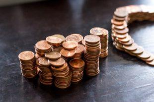 Tas de pièces de un centime