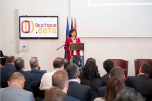 La présidente de la région Occitanie Carole Delga lors du lancement de l'association Occitanie Data le 18 avril à Montpellier
