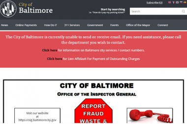 Accueil du site internet de la ville de Baltimore