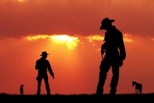 duel of cowboy men