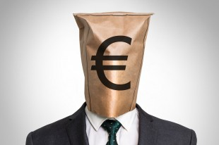 Businessman with a bag on the head - with euro sign