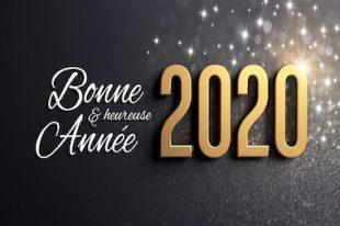 2020 Carte de voeux noire et or