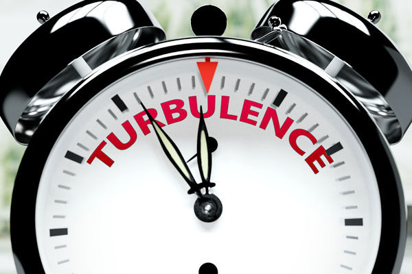 Turbulence soon, almost there, in short time - a clock symbolize