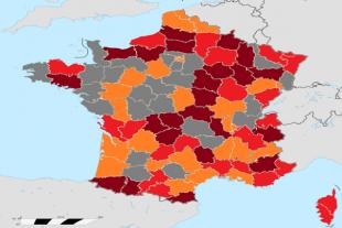 Pourcentage de gilets jaunes au début du mouvement rapporté proportionnellement à la population de chaque département.