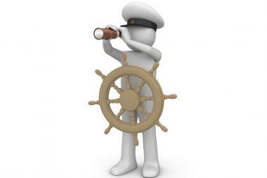 Le capitaine à la barre