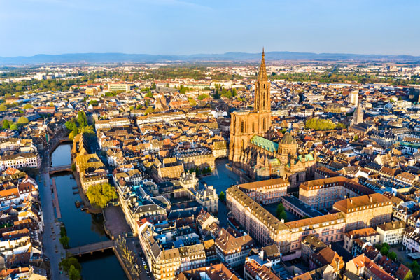 Aerial view of Strasbourg Cathedral in Alsace, France