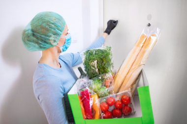 Home delivery food during virus outbreak, coronavirus panic and