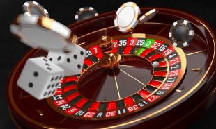 Casino background. Luxury Casino roulette wheel on black background. Casino theme. Close-up white casino roulette with a ball, chips and dice. Poker game table. 3d rendering illustration.