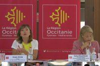 Carole Delga (à gauche), présidete de la région Occitanie, et Nadia Pellefigue, vice-présidente en charge du développement économique.