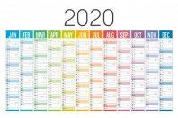 Colorful 2020 horizontal calendar