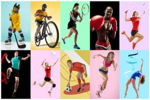 Sport collage about athletes or players. The tennis, running, badminton, rhythmic gymnastics, volleyball.