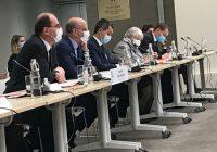 Jean Castex, Jean-Michel Blanquer, Gérald Darmanin, Jacqueline Gourault et Olivier Dussopt, le 20 octobre, lors de la Rencontre Etat Collectivités