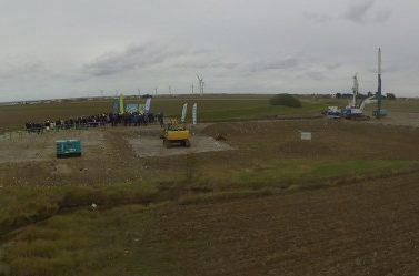 Le site de production d'hydrogène Lhyfe en Vendée en cours de construction.