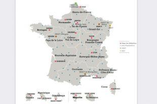 Carte délégations régionales CNFPT au 1er janvier 2021