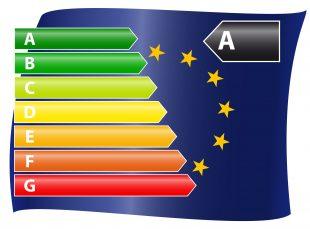 EU Energie Verbrauchskennzeichnung mit EU - Flagge