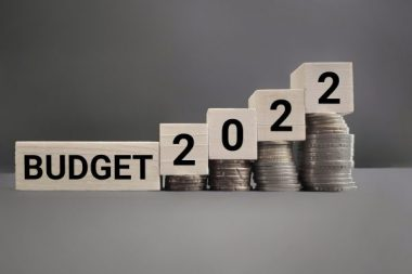 Inspirational and Conceptual - BUDGET 2022 text with vintage background. Stock photo.