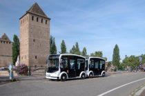 La navette électrique Cristal du constructeur Lohr testée en convoi de deux véhicules à Strasbourg