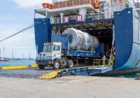Le four a été acheminé par bateau depuis le port du Havre, avec 1 000 tonnes de matériel nécessaire pour les travaux.