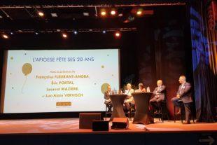 La présidente de l'Afigese, Françoise Fleurant-Angba accompagnée par les anciens présidents Luc Alain Vervisch, Eric Portal et Laurent Mazière lors des 25e assises de l'association.