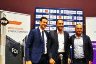 De gauche à droite : le président du Montpellier Handball, Julien Deljarry, le directeur général du groupe FDI, Mathieu Massot et Christian Assaf, vice-président aux Politiques sportives de Montpellier Méditerranée Métropole lors de présentation du naming à la presse le jeudi 30 septembre 2021