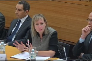 Chantal Pons-Mesouaki, secrétaire générale adjointe du Syndicat des cadres de la sécurité intérieure (SCSI, ex-SNOP), auditionnée à l'Assemblée nationale mercredi 16 avril.