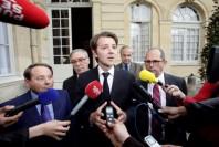 François Baroin, André Laignel et Philippe Laurent, à Matignon, jeudi 28 mai 2015