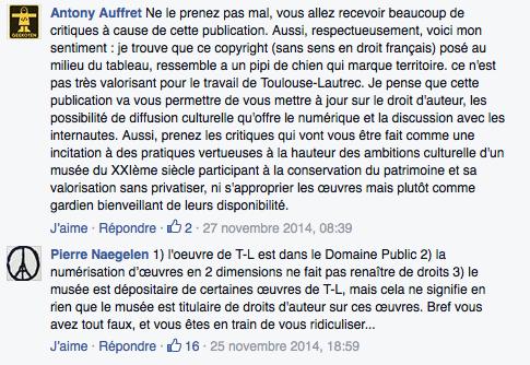 Capture d'écran Page Facebook Musée Toulouse-Lautrec copyfraud
