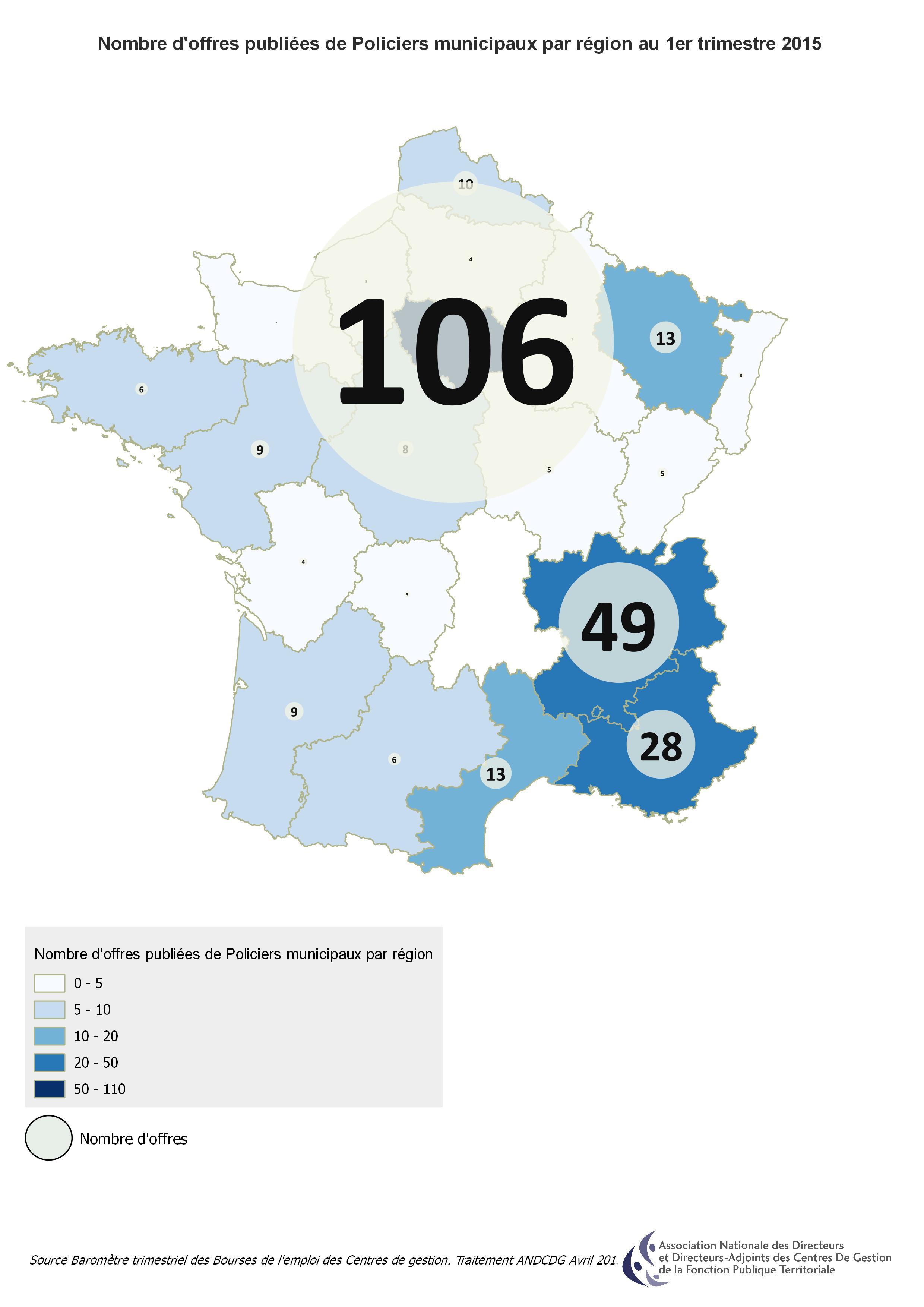 Carte Nb d'offres publiées Metier Policiers municipaux par région 1erT2015