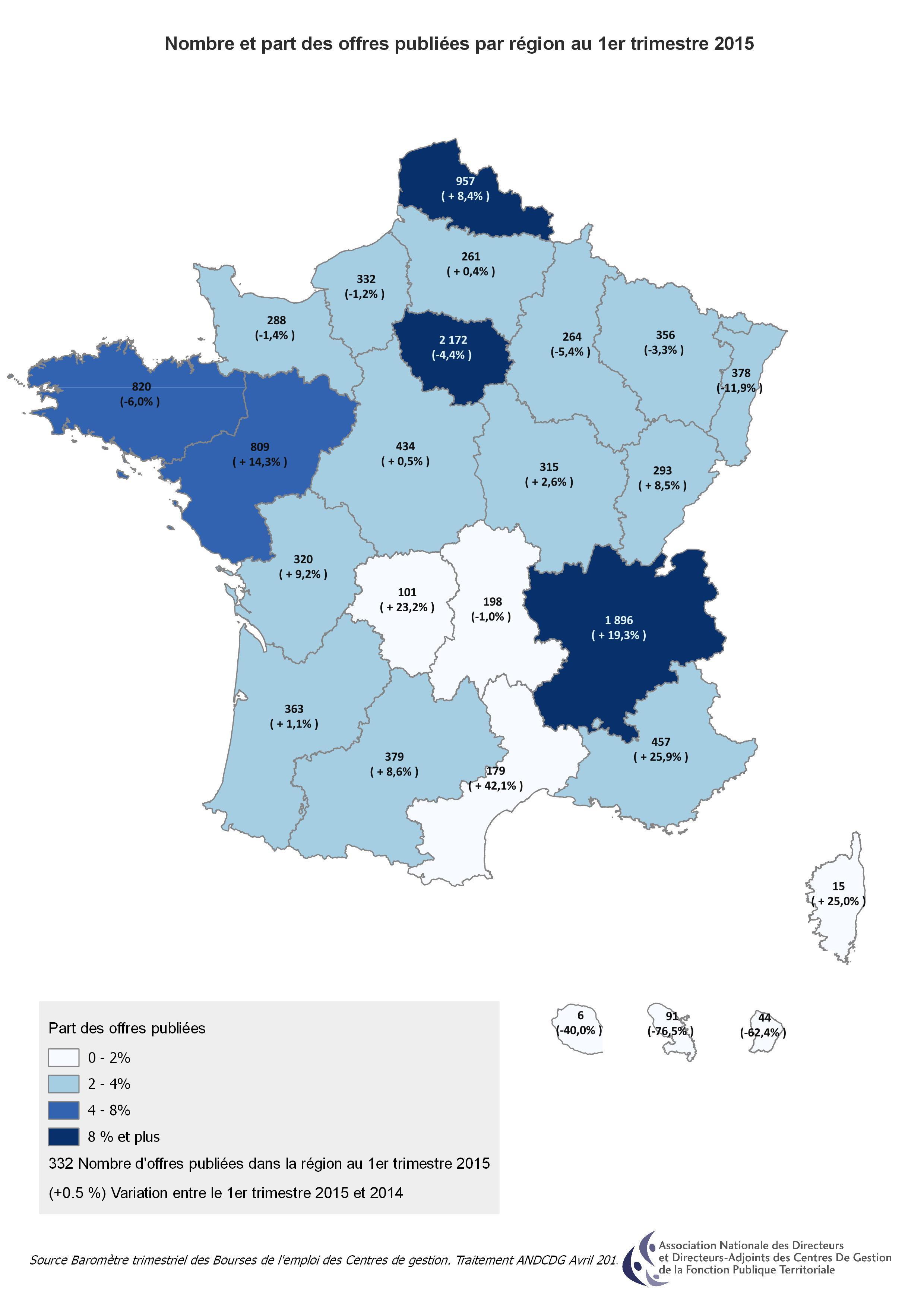Carte Nb d'offres publiees par region 1erT2015