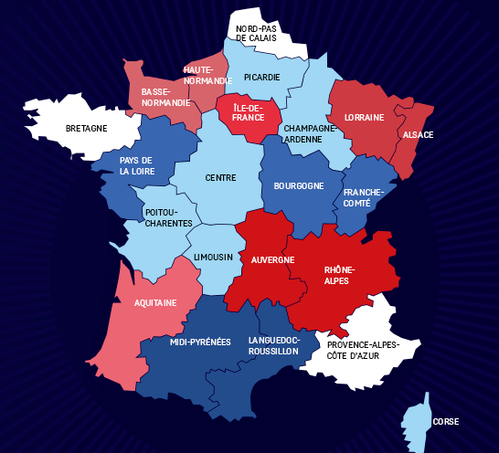 carte des départements de france 2020 François Hollande fixe les régions à 14 et la fin des départements