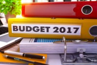 Yellow Office Folder with Inscription Budget 2017