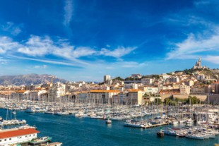 Notre Dame de la Garde and olf port in Marseille, France